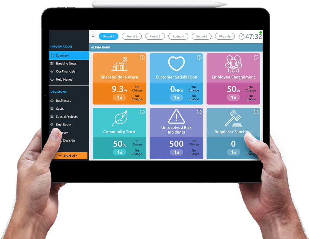 Two hands holding banking simulator game on tablet